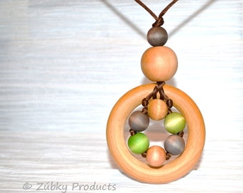 Earthy Natural Wooden Teething Necklace - Perfect Gift for Nursing Breastfeeding Babywearing Mamas by Zúbky