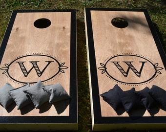 Monogram Wedding Cornhole Board Set with Bags for Your Wedding Reception -  Yard Game Backyard Rustic Party Fun