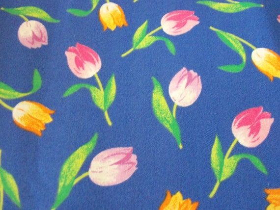 Tulips fabric flowers all colors on blue background cotton etsy image 0 mightylinksfo