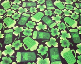 "St. Patrick's Day Fabric Green Beer 17"" x  22"""
