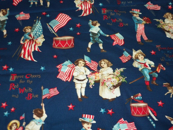 Patriotic Christmas Background.Patriotic Children Fabric Kids Blue Background Fat Quarter New Btfq