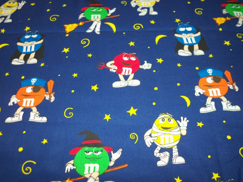 M&M's Halloween Fabric All the Characters in Costume Ready for Trick or  Treat New By The Fat Quarter fabricnmore