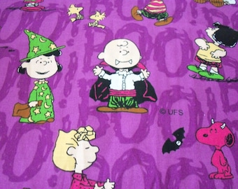 "Peanuts Halloween Fabric Snoopy Charlie Brown Lucy Dracula Witch  BTFQ 18"" Long x 22"" Wide"