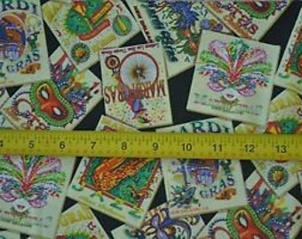 Mardi Gras Fabric Celebrate New Orleans Colorful on Black Cotton Shamash  New By The Fat Quarter BTFQ