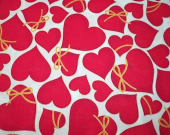 Valentine Hearts Fabric Gold Metallic Bow on Red Hearts New By The Fat Quarter BTFQ