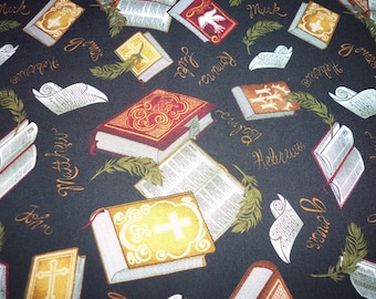 Bibles Fabric Black Background Holy Book Scriptures By The Fat Quarter New BTFQ