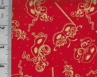 Mardi Gras Fabric Red w/ Gold Masks Cotton Fabric By Fat Quarter New BTFQ