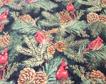 Christmas Cardinals Fabric Pine Cones Pine Trees Red Birds fabricnmore Fabric New By The Fat Quarter