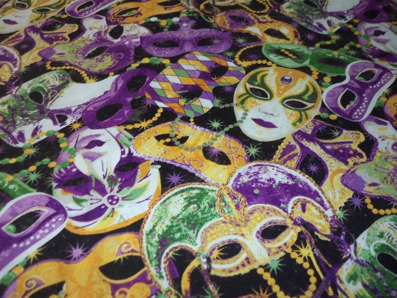 Mardi Gras Fabric Mask Beads Celebration By The Fat Quarter BTFQ New
