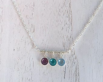 Birthstone Bar Necklace, Charm Necklace, Silver Chain