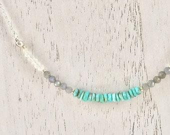 Turquoise Necklace, Sterling Silver, Gemstone Necklace, Women's Jewelry