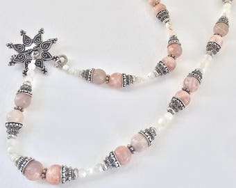 Morganite, Mother of Pearl Gemstone, Silver Beaded Statement Necklace