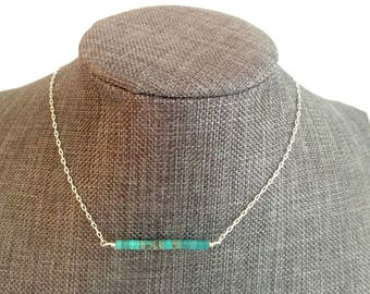 Genuine Turquoise Necklace, Bar Necklace, Silver Chain and Turquoise Heishi Beads