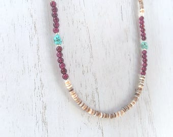 Boho Beach Style Necklace, Heishi Shell Beads, Genuine Turquoise and Garnet Gemstones