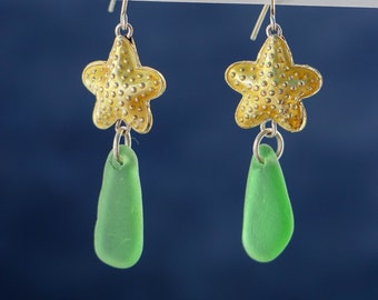 PEI Green Seaglass Earrings hung from a Cloisonne Starfish Bead with Sterling Silver French Earwires.