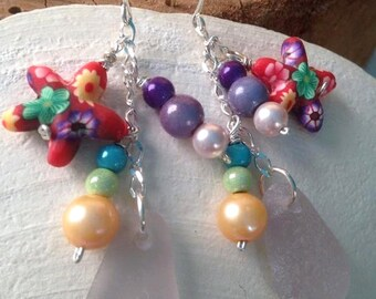 Lavender Sea Glass PEI Earrings with Starfish Charms and Freshwater Pearls
