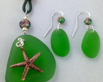 PEI Green Sea Glass & Sterling SIlver Necklace and Earring Set