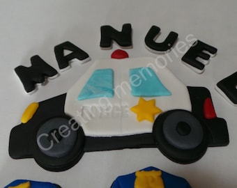 FONDANT POLICE CAR Set With Childs Name And Six Hats Ready To Decorate That Special Birthday Cake Edible Topper Any Color Match