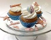 Fondant Seashells 36 Mix shells Cupcake  Toppers -Your Choice of Colors.Edible candy seashells, made to order you choose the colors. Fondant