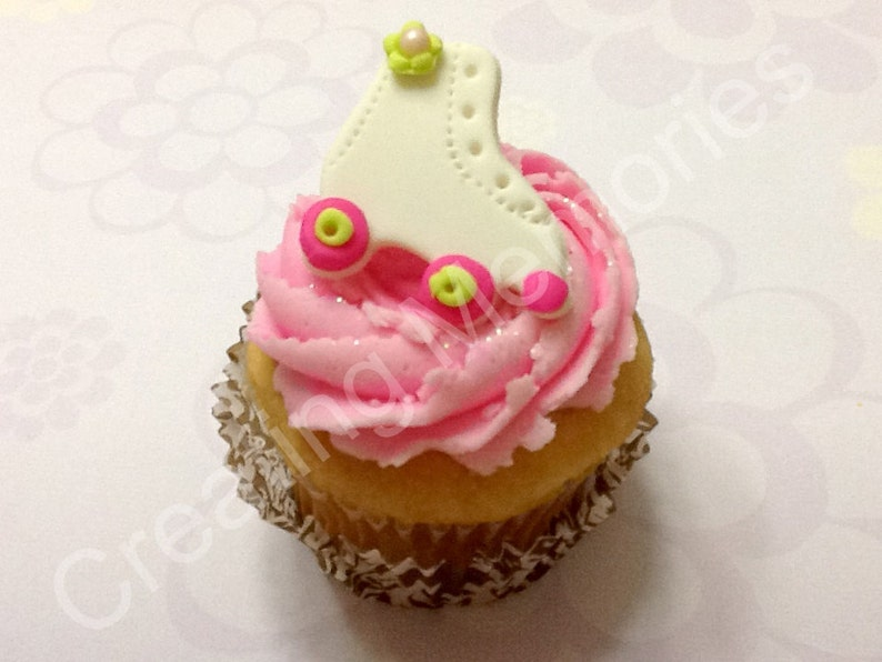 Roller Skates Fondant Cupcake toppers White with Hot Pink and Lime Green Accents for Birthday Parties or School Functions