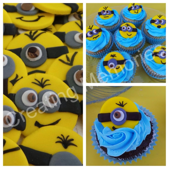 36 Edible Minions Cupcake Or Cake Decoration Toppers On A Etsy