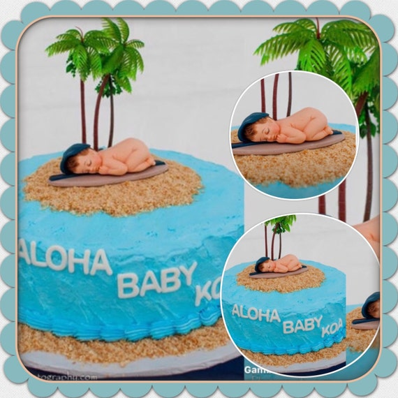 Baby On A Surfboard Cake Topper Cupcake Cookies Cake Decorations Made Of Vanilla Fondantbaby Shower Edible Cake Toppers