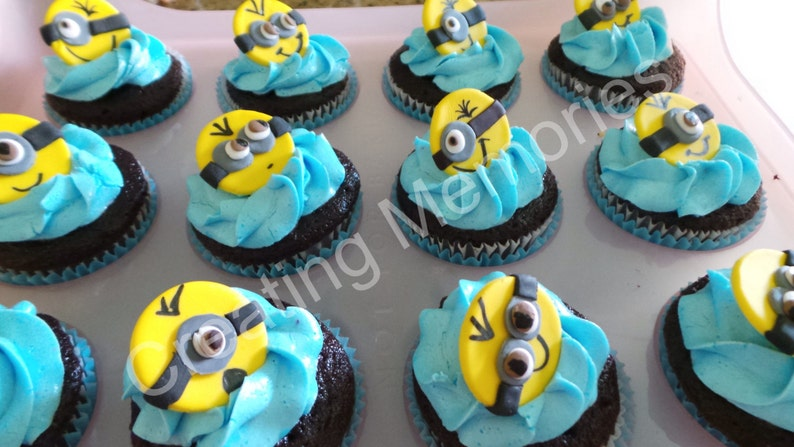12 Edible Minions Cupcake Or Cake Decoration Toppers On A Etsy