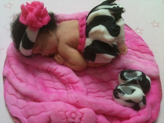 Baby In A Zebra Print Tutu Baby Caketopper Cake Etsy