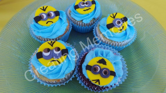 18 Edible Minions Cupcake Or Cake Decoration Toppers On A Etsy