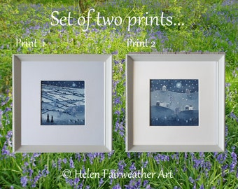 Matching pair of framed PRINTS wall art in navy blue hare rabbit wildlife peaceful tranquil calming relaxing dark blue monochrome grey black
