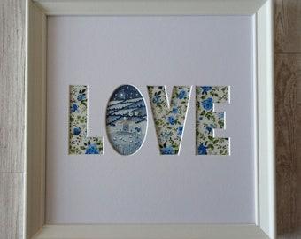 LOVE word art Original painting navy blue dark blue wall art night sky stars and moon nighttime pretty floral fabric print lounge bedroom