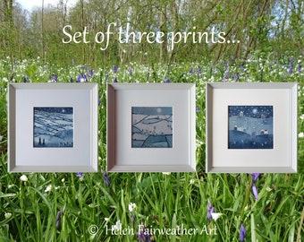 SET of 3 blue wall art PRINTS framed trio star & moon night sky navy dark blue denim picture nature hare rabbit wildlife British painting
