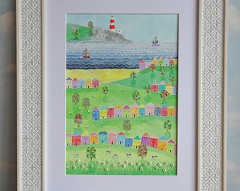 Original watercolour painting coastal landscape seaside scene lounge decor lighthouse wall art mindfulness uplifting bright colourful boat