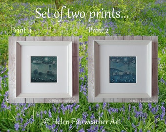 Pair of framed PRINTS wall art in shades of dark blue teal night sky skies with stars and moon nightscape mindful art monochrome grey black