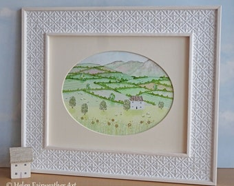 Spring original watercolour landscape painting wall art Lake District countryside Easter decoration Dandelion flower scene time print sign
