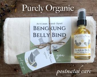 TRUE ORGANIC Postpartum Bengkung Set: fray or sewn edge,  GOTS Organic Cotton, Bengkung Belly  Wrap + Organic Golden Belly Toning Serum