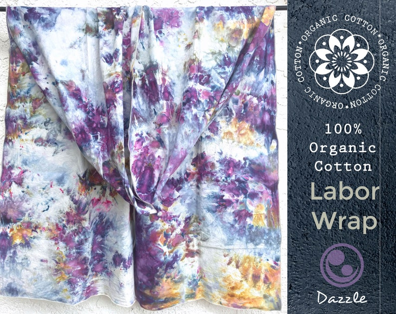 Dazzle, Organic Cotton Labor Wrap, sling, ice dyed, affordable, doulas,  midwives, ease labor pain, pregnant mom, rebozo labor techniques