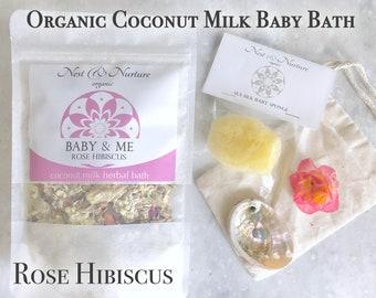LRG 16oz Organic Postpartum/Baby Bath, Rose Hibiscus Coconut Milk Herbal Bath,  Vegan Organic babycare, newborn, add to Bengkung Bind, doula