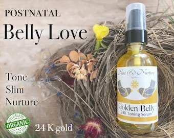 Organic Gold Belly Serum, tighten, tone rejuvenate, non greasy, postpartum organic body care, can be used with bengkung belly bind,