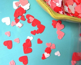 Paper heart confetti - 500+ hearts in red, white, and pink- wedding confetti - party confetti - table scatter - showers - birthday parties