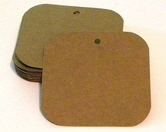 """25 square tags - 3""""x3"""" paper tags - blank tags - hang tags - cardstock tags - favor tags - rustic tags - kraft tags - brown paper tags"""