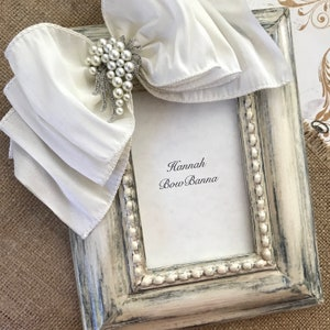 Custom Picture Frames 8x10 Ivory Bow Rhinestone Jewel Plaque Personalized Portrait Family Baby Gift Idea RESERVE FOR LISA