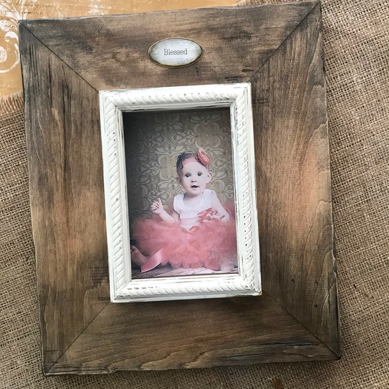 Photo Frame Wood Personalize Name Plaque Baby Wedding Pet Family Unique Gift Idea Neutral Rustic Beach House Country Gift for Men