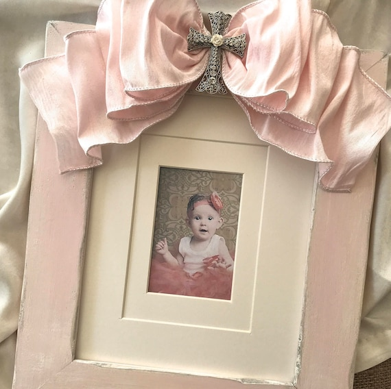 8x10 Photo Frame Bow Baptism Baby Religious Cross Jewel Pink Decor Blue Gift Idea Blue Personalize Plaque First Birthday Grandparent Gift