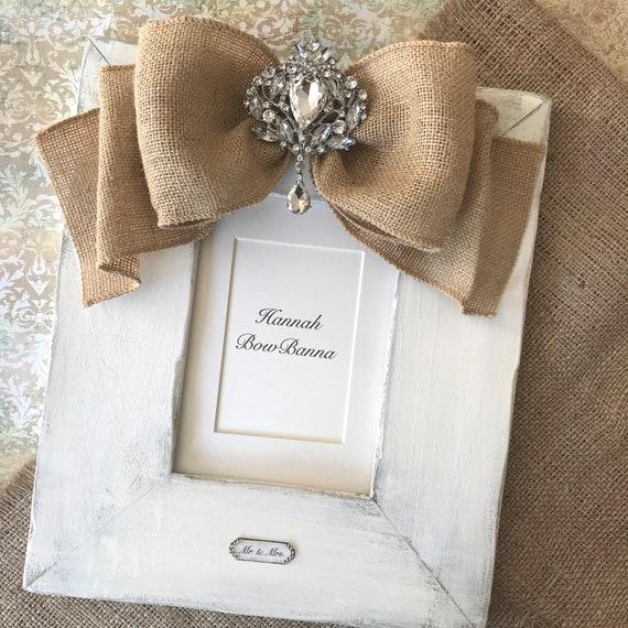 Wedding Photo Frame White Wood Burlap Bow Jewel Personalize | Etsy