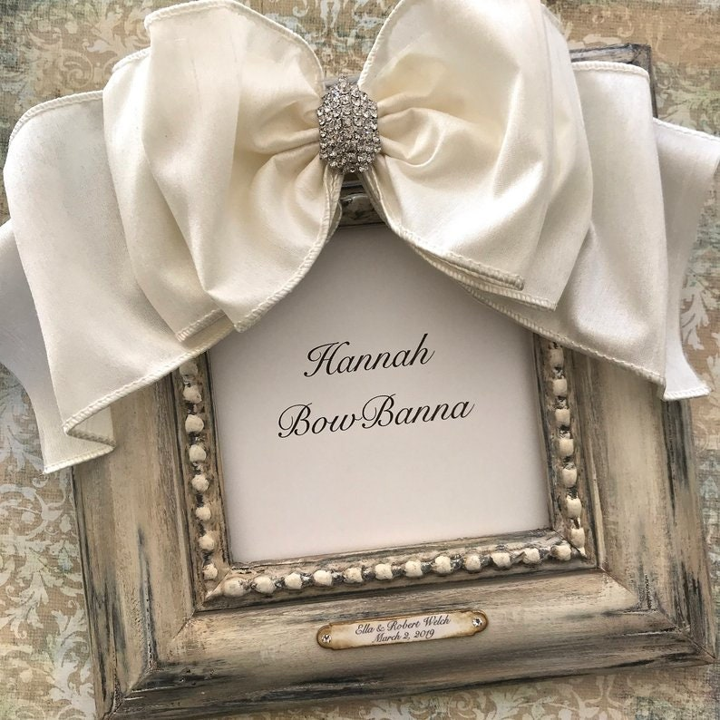 RESERVE FOR LISA Custom Picture Frames 8x10 Ivory Bow Rhinestone Jewel Plaque Personalized Portrait Family Baby Gift Idea