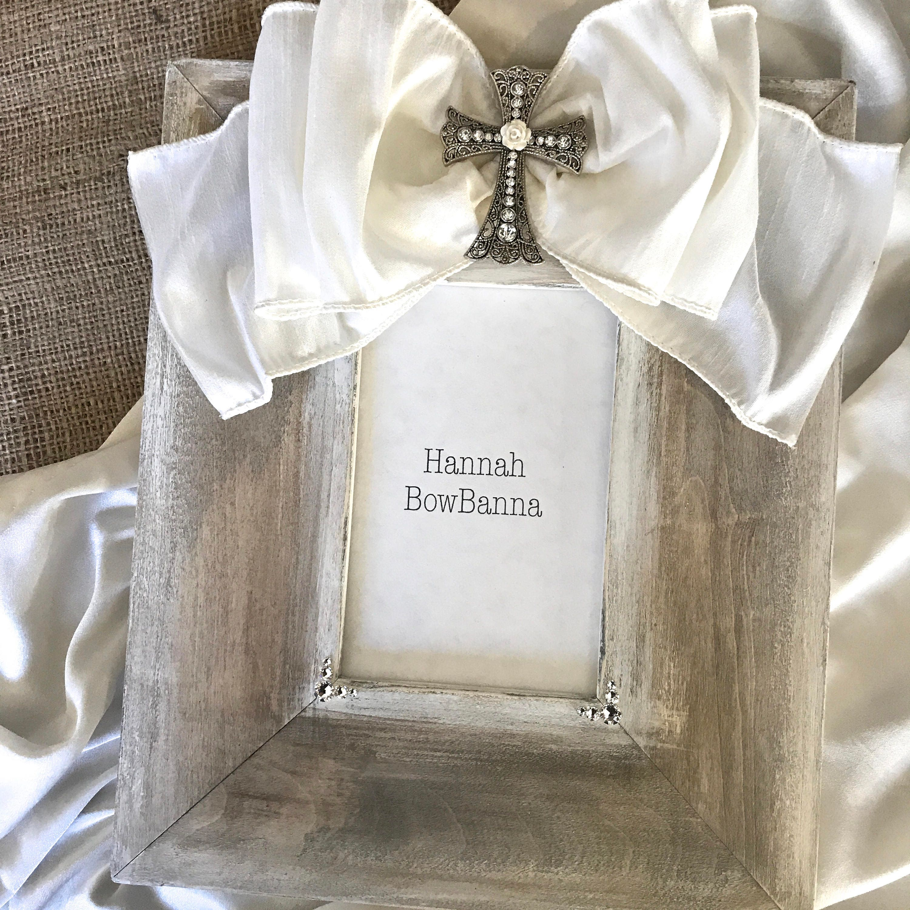 Photo Frame Baby Bow Baptism Religious Cross Jewel Personalize Wood ...