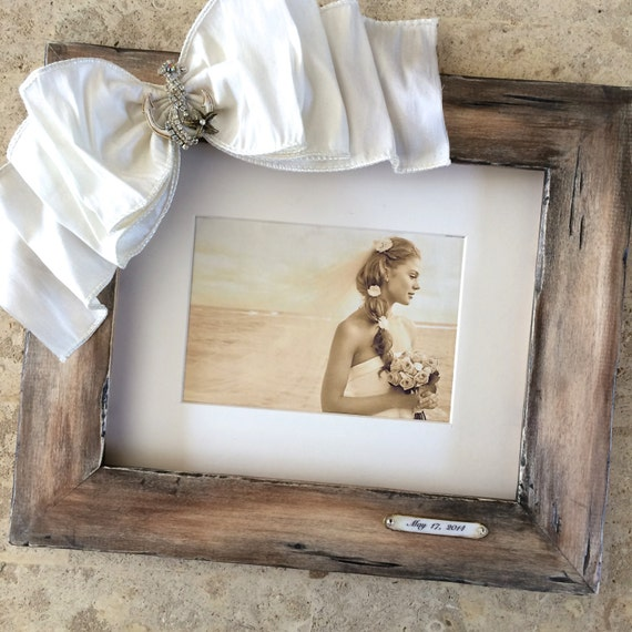 Beach Wedding Picture Frame 8x10 Portrait Burlap Bow Family | Etsy