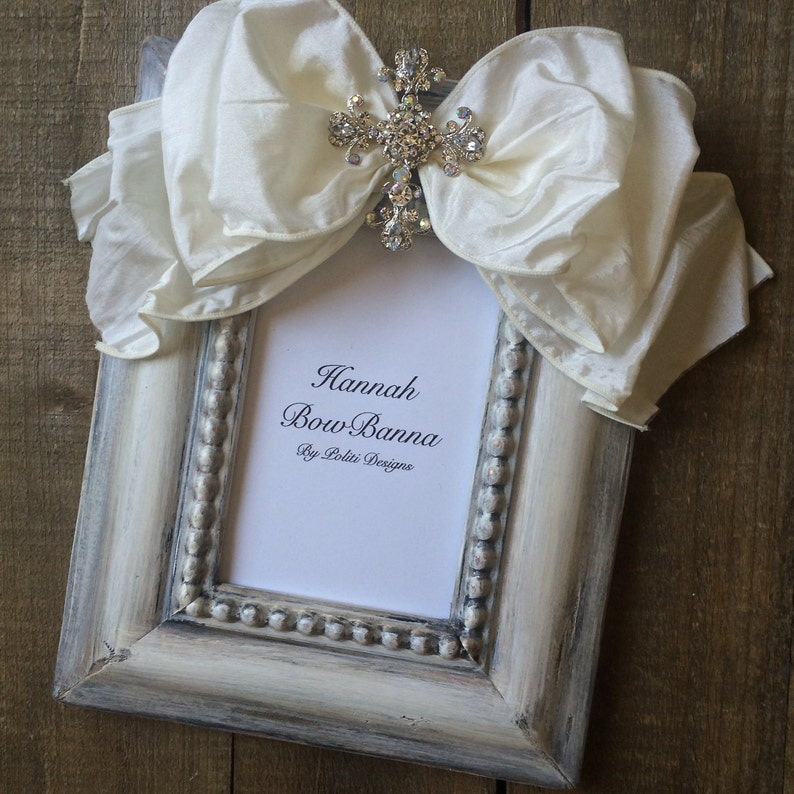 Photo Frame with Bow Cross Jewel Baby Baptism Personalize Confirmation  Wedding Rustic First Christmas Customize Frame with Plaque Photo Gift