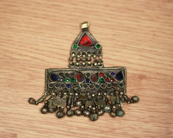Vintage Kuchi Tribal Coin Pendant, Necklace Costume Belly Dance